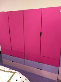 Girls Complete Bedroom Furniture Set fusia pink, lilac and baby pink