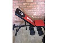 Incline gym bench + dumbbels