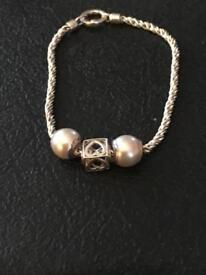 Ladies genuine truth bracelet solid silver with 3 charms fully Hallmarked