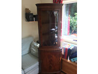 2 Part Wooden Corner Cabinet, with glass window