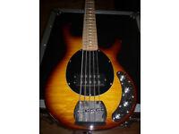 Vintage V96 5-string Bass - Active - Transparent Flame Burst (Music Man Stingray style)