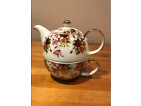 Tea for one. Combined teapot and cup for collector