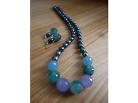 Real Pearls and Natural Stones Necklace and Earrings - Blue Shades NEW Set
