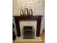 Marble fireplace surround with fire