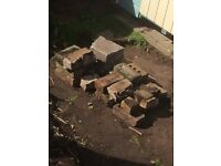 Broken bricks and rubble for a small garden project