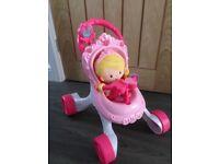 Fisher Price Pram & doll