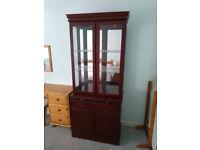 Tall Display Cabinet and Office Bureau – Both in Mahogany Finish