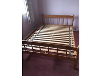 """4'6"""" double pine bed"""