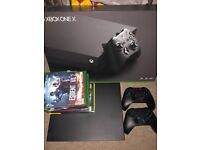 Xbox one X 2x wireless controllers & 8 games