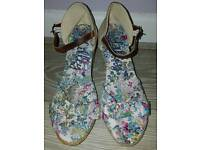 Summer flowery wedges shoes
