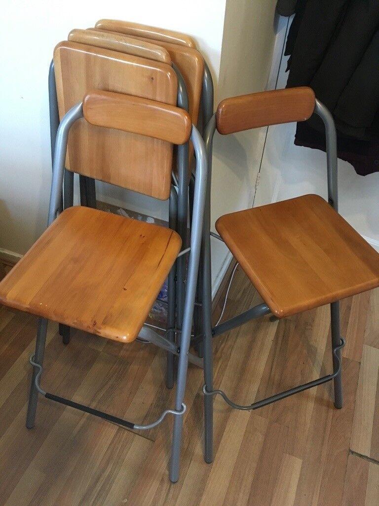 Excellent Bar Stools Tall Folding Chairs X4 In Huddersfield West Yorkshire Gumtree Squirreltailoven Fun Painted Chair Ideas Images Squirreltailovenorg