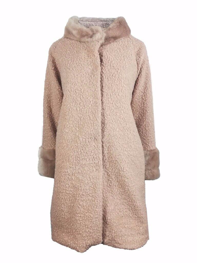 AMAVISSE UK - Women Clothes Winter Fashion Long Coat with Faux Acrylic Sheep like Fur