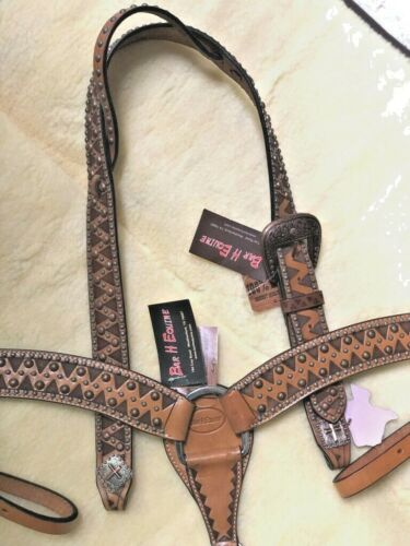Bar H Running W Tooled Leather Belted Headstall #23073 OR Breast Collar #5606