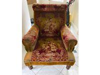 Upholstered carpet armchair