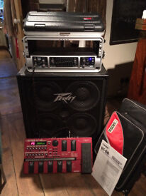 Complete Bass Rig with speaker cabinet, amplifier, and multi-effects pedal