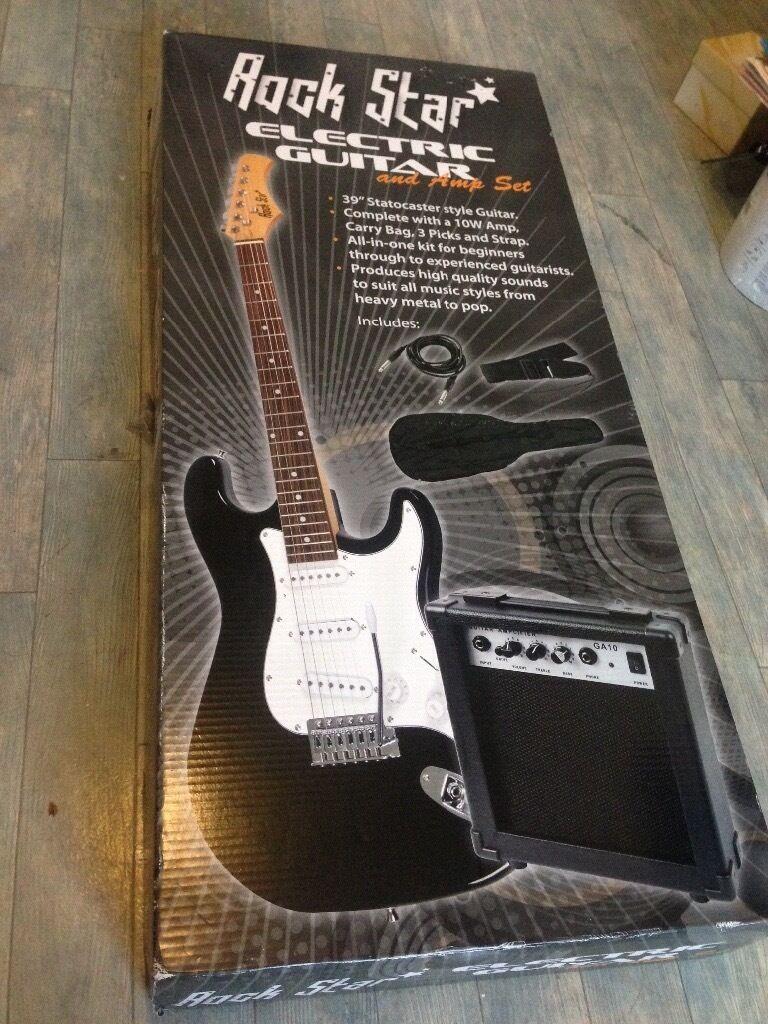Black & White Electric Guitar & Amp Set