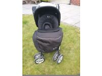 Silvercross pushchair with cosy toes, apron, raincover, head support, bag and parasol