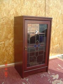 Mahogany Glass Stained Door Display Unit. Ideal as a Book Case or Drinks Cabinet. Can Deliver.