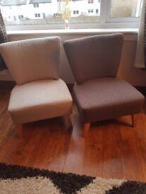 1 Brown Chair & 1 Beige Chair