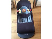 Baby Bjorn baby bouncer balance soft Black/grey with wooden toy