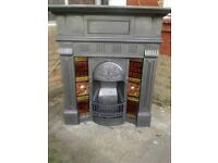 Victorian cast iron fire place, with tiled , original black
