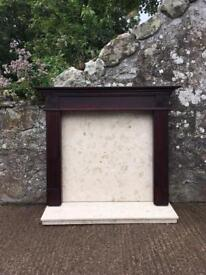 Fireplace surround with Marble back panel and hearth for sale