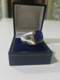 Natural Lapis Lazuli Gemstone Solid 925 Sterling Silver Mens Ring Jewelry