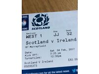 Scotland v Ireland 2 tickets. Genuine reason for sale let down last minute