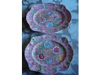2 Large Serving Platters Johnson Brothers English Countryside Pink Multi 108080