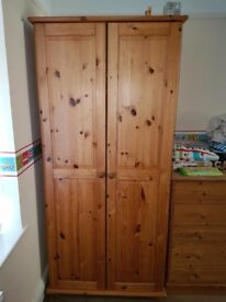Solid wood wardrobe and chest of drawers