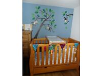 Wooden Sleigh Baby Cot Toddler Bed