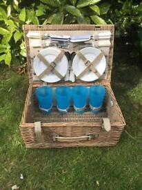 Picnic Hamper With Earthenware Plates