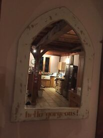 Shabby chic, distressed mirror. With hello gorgeous written in gold glitter