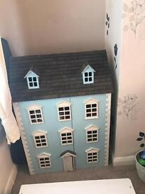 Blue Wooden Dolls House Perfect Condition with Basement Victorian Style