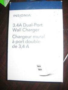 Insignia Dual USB Wall Charger. Fast Charger. 3.4Amp. Foldable. Samsung Galaxy Smart Phone / iPhone / Zenfone / LG. NEW