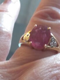 For Sale 18ct Yellow Gold Ruby and Diamond Ring £450