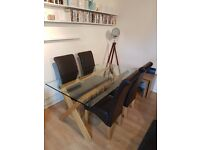 NEXT Glass and Oak Dining Table Including Four New Faux Leather Chairs