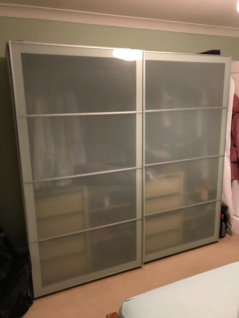 Ikea Pax Double Wardrobe For Sale Wood Effect With Glass