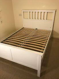 IKEA HEMNES Bed Frame, white stain/Luröy Standard Double