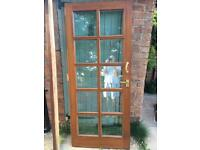 Solid external wood double glazed door and frame
