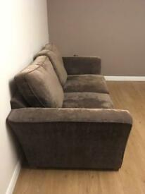 Brown couch - 3 seater and 2 seater snuggle chair