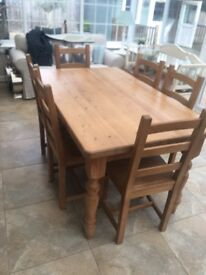 Solid pine table and 6 oak chairs
