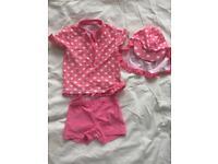 Girls Pink & White Swimsuit Set 18-24 Months