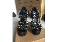 Urban Outfitters Wedge Studded Heels - Black, Size 6, worn once