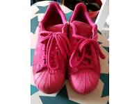 Size 5.5 pink suade Adidas trainers
