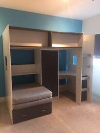 RUTLAND - KIDS CABIN HIGH SLEEPER BED - WHITE & GREY - USED