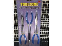 """3 pc 11"""" long nose pliers ( tools )"""