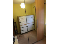 LARGE IKEA FITTED WARDROBE-PAX RANGE-FLOOR TO CEILING-DOUBLE MIRROR