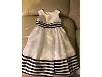 Girls white and navy dress