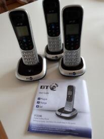 BT 2100 trio digital cordless phones